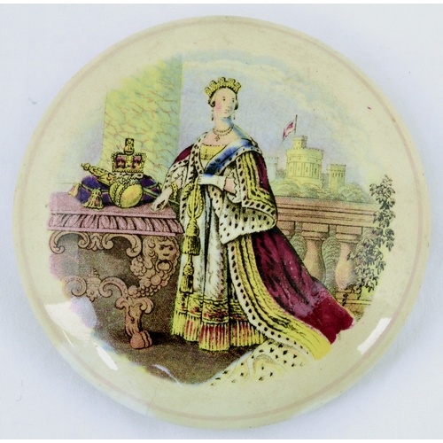 503 - QUEEN VICTORIA WITH ORD & SCEPTRE POT LID. (KM 166) 4.25ins diam. Multicoloured lid produced by the ...
