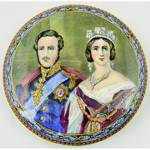 504 - QUEEN VICTORIA & PRINCE CONSORT. (KM 167). 5ins diam. Strong mulitcoloured pot lid produced by the P...