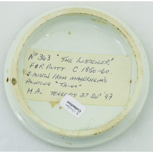 507 - THE LISTENER POT LID. (KM 130) 4ins diam. Multicoloured image with title The Listner (sic) & outer g...