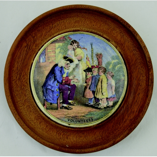 510 - VOLUNTEERS POT LID. (KM 217) 4.5ins daim in frame. Multicoloured lid one of a pair with 'Old Jack' N...