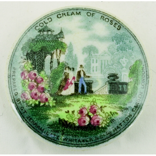 511 - THE ROSE GARDEN. (KM 114) 2.5ins diam. Multicoloured lid carrying advertising for Cold Cream of Rose...