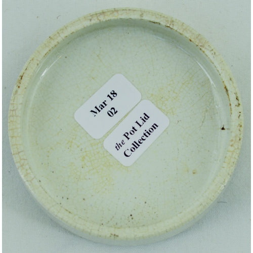 512 - BEARS GREASE POT LID. (APL p 246, 44) 2.5ins diam. Black transfer JAMES ATKINSON'S BEAR GREASE/ 24 O...