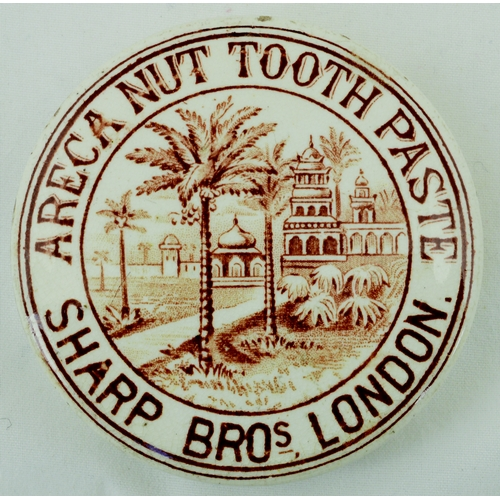 515 - SHARP BROS TOOTH PASTE POT LID. (APL p 389, 33) 2.5ins diam. Brown transfer, pict. of palma & mosque...