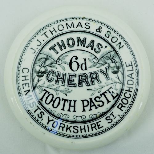 516 - ROCHDALE CHERRY TOOTH PASTE POT LID. (Not listed in the New APL book) 3.25ins diam. Strong black tra...