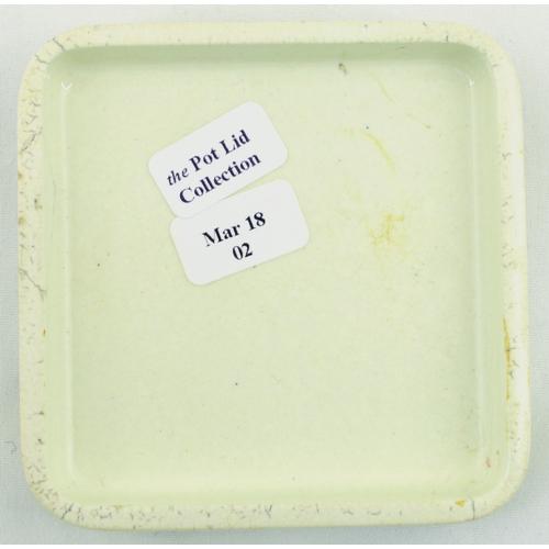519 - KOSMEDEN DENTIFRICE POT LID. (APL p 151, 67) 2.75ins square. Strong black transfer KOSMEDEN & descri...