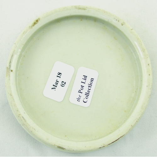 520 - MAY ROBERTS CHERRY TOOTH PASTE POT LID. (APL p 351, 57b) 2.75ins diam. Black pict. transfer of littl...