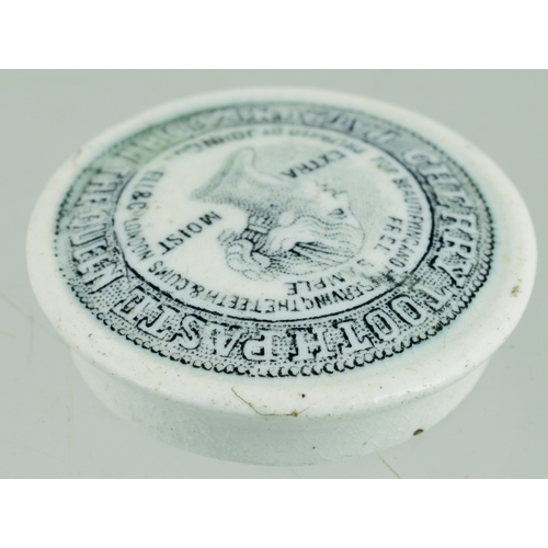 523 - JOHN GOSNELL MINIATURE CHERRY TOOTH PASTE POT LID. (APL p 304, 63) 1.25ins diam. Black transfer for ...