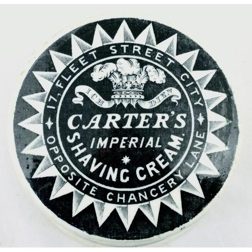 524 - CARTERS SHAVING CREAM POT LID & BASE. (APL p 272, 6a) 3ins diam. Strong black transfer decorative su...