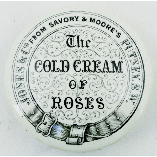 525 - PUTNEY COLD CREAM POT LID. (APL p 330, 24) 2.5ins diam. Crisp black transfer JONES & CO FROM SAVORY ...