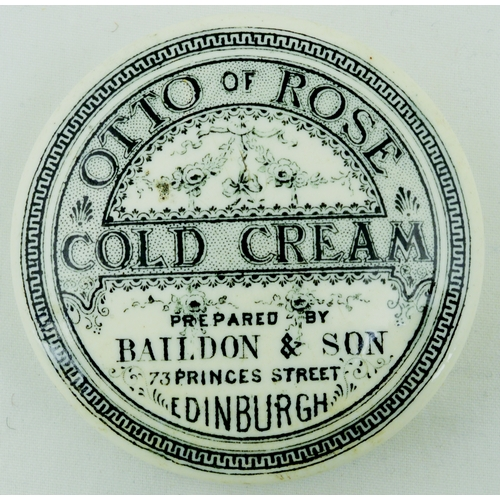 526 - EDINBURGH COLD CREAM POT LID. (APL p 538, 21) 2.25ins diam. Black transfer for OTTO OF ROSES/ COLD C...