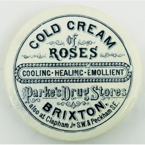 527 - BRIXTON COLD CREAM POT LID. (APL p 361, 6) 3ins diam. Strong black transfer for COLD CREAM/ OF/ ROSE...