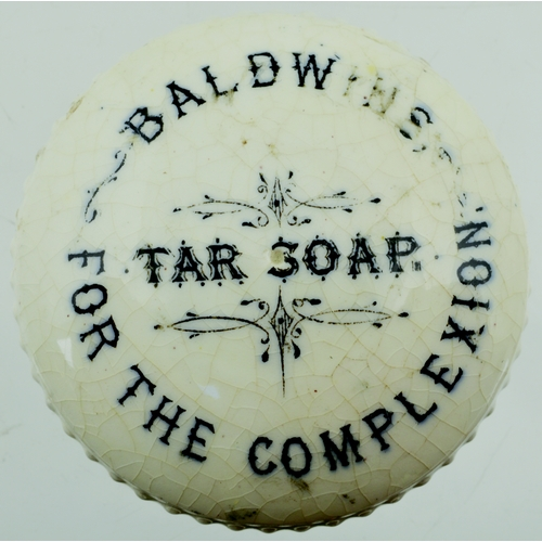 530 - BALDWINS BUTTON POT LID. 2ins diam. Cerated edge lid, black transfer for BALDWINS/ TAR SOAP/ FOR THE...