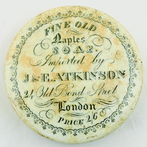 531 - ATKINSON SOAP POT LID. (APL p 248, 51) 2.75ins diam. Black transfer FINE OLD/ NAPLES/ SOAP/ IMPORTED...