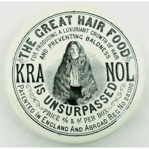 533 - KRANOL POT LID. (APL p 692, 2) 3.75ins diam. Black transfer for THE GREAT HAIR FOOD/.../ KRANOL/ IS ...