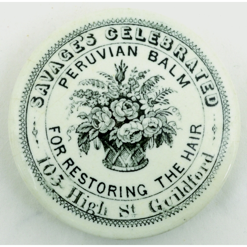 534 - GUILDFORD PERUVIAN BALM POT LID. (APL p 606, 15) 3ins diam. Black transfer for SAVAGE'S CELEBRATED/ ...