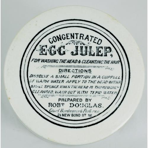 535 - EGG JULEP POT LID & BASE. (APL p 288, 38a) 3.5ins diam. Black transfer for CONCENTRATED/ EGG JULEP/ ...