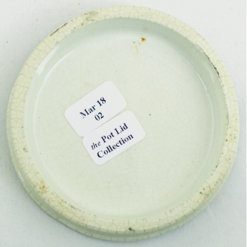 536 - CREWE OINTMENT POT LID. (APL p 60, 28a) 2.75ins diam. Strong black transfer for JOHNSON'S CELEBRATED...