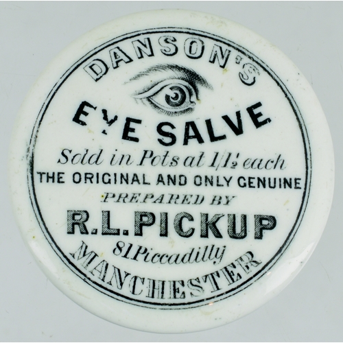 540 - MANCHESTER EYE SALVE POT LID. (APL p 430, 91) 2ins diam. Black transfer, wording as previous lot tho...