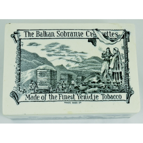 541 - BALKAN SOBRANIE BOX. 6 by 4.25ins. Ceramic rectangular box advertising BALKAN SOBRANIE CIGARETTES/ M...