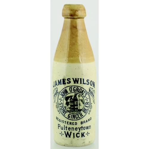 542 - WICK GINGER BEER BOTTLE. 9ins tall. T.t, ch, strong black transfer for JAMES WILSON/ JOHN O'GROATS/ ...