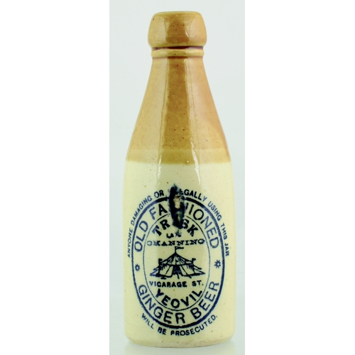 545 - YEOVIL GINGER BEER BOTTLE. 8ins tall. T.t, ch, black transfer for OLD FASHIONED/ YEOVIL/ GINGER BEER...