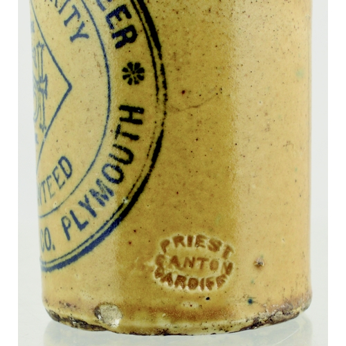 546 - PLYMOUTH GINGER BEER. 7ins tall. Blue/green top st, black transfer GREEN STONE GINGER BEER/.../ SAM ...
