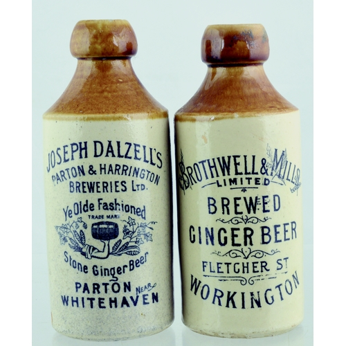 548 - GINGER BEERS DUO. Tallest 6.75ins. T.t, st, black transfers one for JOSEPH DALZELLS/ PARTON NEAR/ WH...