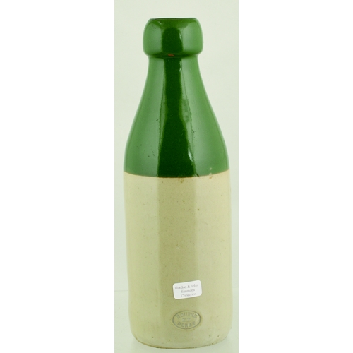 549 - SIDMOUTH GINGER BEER BOTTLE. 8ins tall. Green top, ch, black transfer VALLANCE/ SIDMOUTH. Rear Bourn...