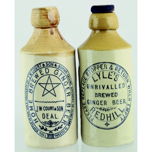 552 - GINGER BEERS DUO. Tallest 7ins. T.t, st, black transfers, one for J.W. COURT & SON/ DEAL , Port Dund...
