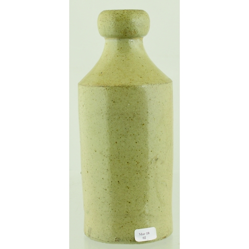 553 - STALYBRIDGE SLAB SEAL GINGER BEER BOTTLE. 7.25ins tall. Grey/ green slip glaze, front slab reads STA...