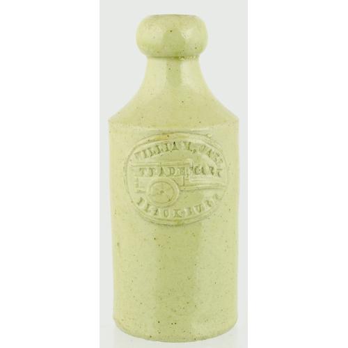 554 - BLACKBURN SLAB SEAL GINGER BEER BOTTLE. 7ins tall. Grey/ green slip glaze, front slab reads WILLIAM ...