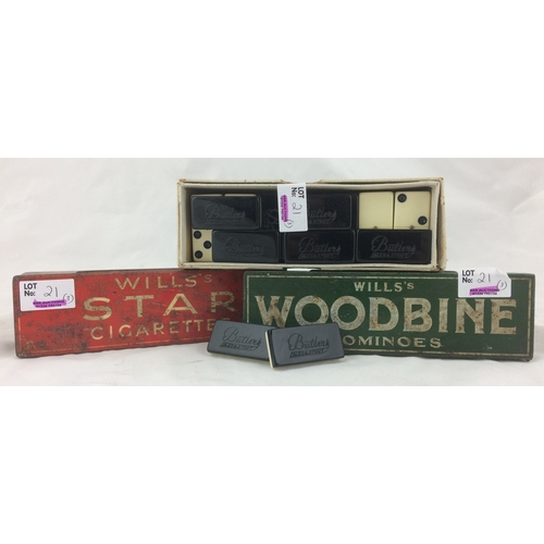 21 - BOXED DOMINOES TRIO. 7.25ins, inc. Will's Star Cigarettes, Will's Woodbine & BUTLERS ALES - this lat...