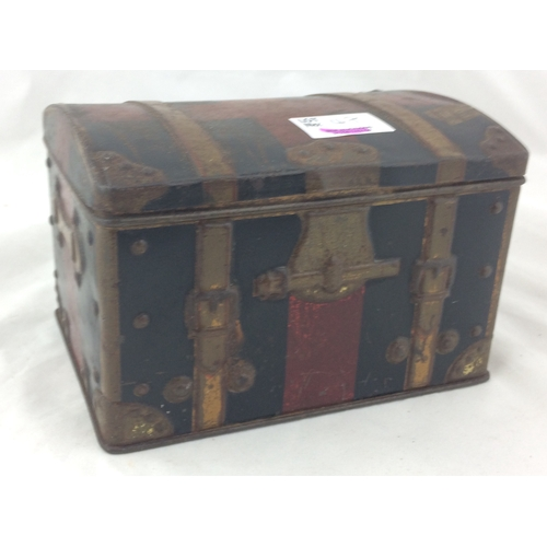 47 - MCFARLANE LANG BISCUIT TIN. 4 x 6ins, trunk/ chest type shape with various labels affixed. Base carr...
