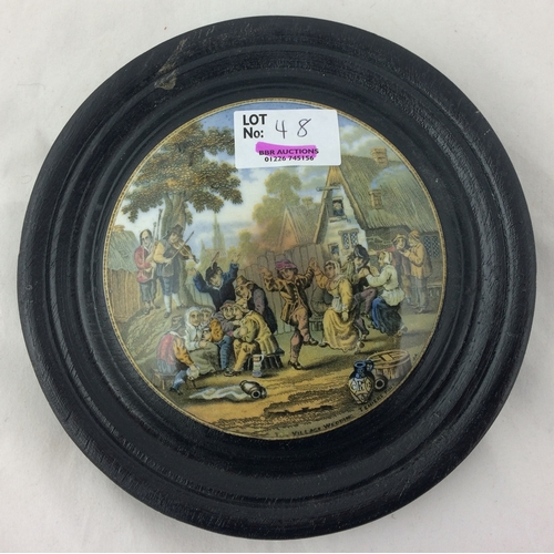 48 - THE VILLAGE WEDDING PRATT LID. 6.25ins diam., crisp detail, with diam reg, set in an original/ old w...