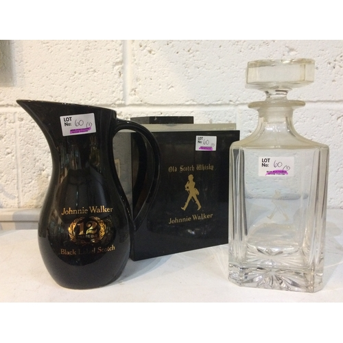60 - JOHNNIE WALKER TRIO. Tallest 9ins, Ice bucket, acid etched glass decanter with stopper plus black Wa...