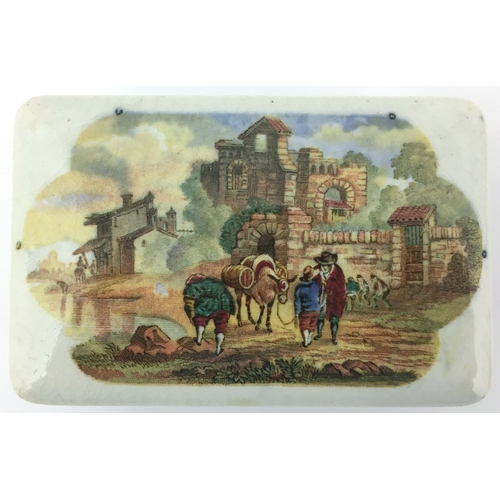 14 - THE MULETEER POT LID & BASE. (KM 361) 3.5 by 2.5ins. Oblong shape lid with multicoloured image. Mino...