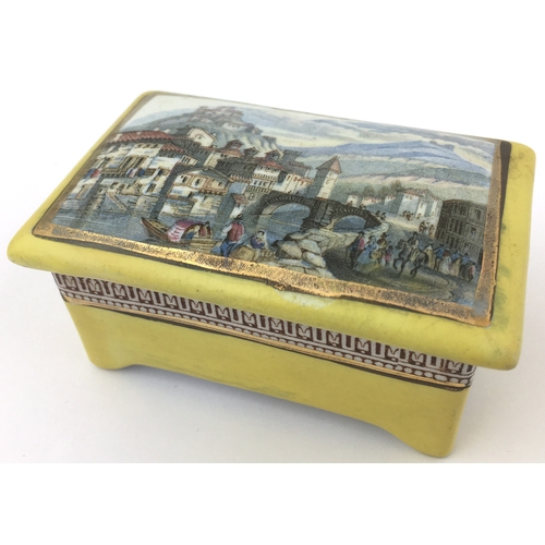 15 - TYROLESE VILLAGE SCENE TRINKET. (KM 366) 3.5 by 2.5ins. Rectangular shape, multicoloured image with ...