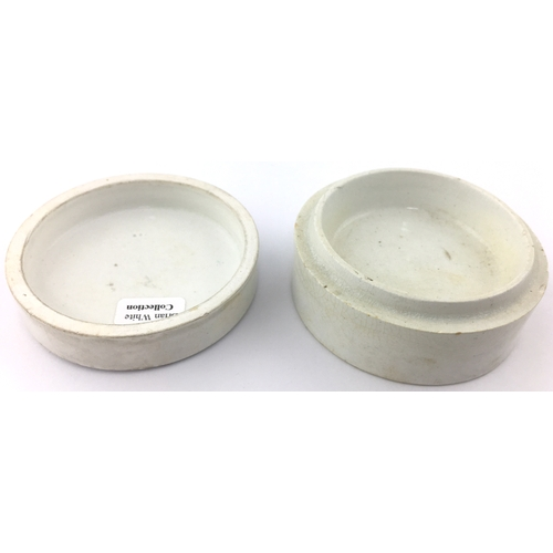 24 - LEWIS & BURROWS CHERRY TOOTH PASTE POT LID & BASE. (APL p 339, 31) 2.5ins diam. Busy black transfer ...