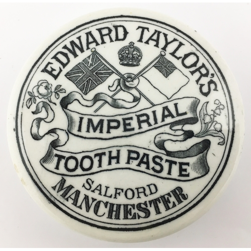 27 - MANCHESTER TOOTH PASTE POT LID. (APL p 432, 113a) 2.75ins diam. Strong black transfer EDWARD TAYLOR'...