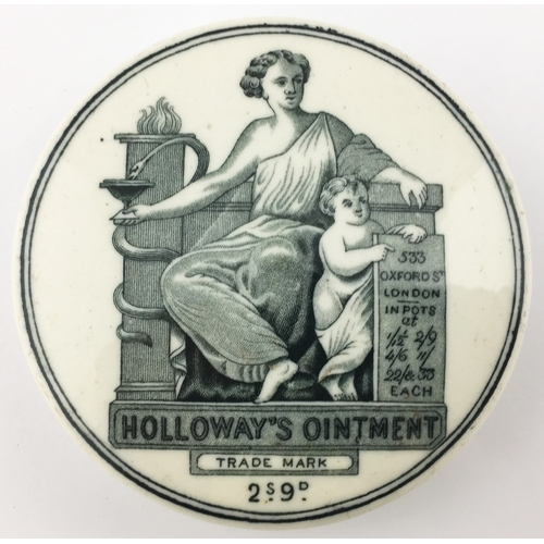 37 - HOLLOWAYS OINTMENT POT LID. (APL p 317, 63) 3ins diam. Black transfer, central pict. of Greek muse, ...