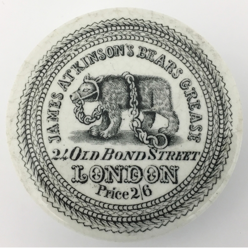 4 - ATKINSON BEARS GREASE POT LID. (APL p 246, 44) 2.5ins diam. Black pictorial/ lettering as previous t...