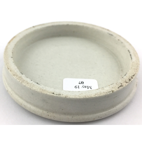 42 - PORTSMOUTH ARECA NUT TOOTH PASTE POT LID. (APL p 176, 50a) 3ins diam. Strong black transfer with vas...
