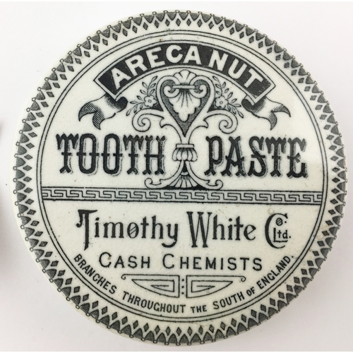 43 - PORTSMOUTH ARECA NUT TOOTH PASTE POT LID. (APL p 176, 54b) 3ins diam. Strong, crisp black transfer w...