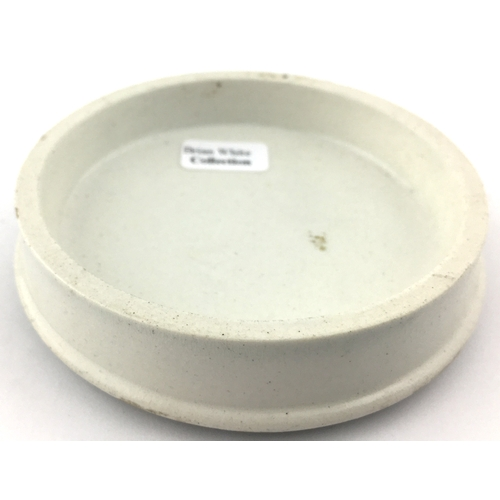 44 - PORTSMOUTH CHERRY TOOTH PASTE POT LID. (APL p 175, 48a) 3.25ins diam. Strong black transfer with coi...