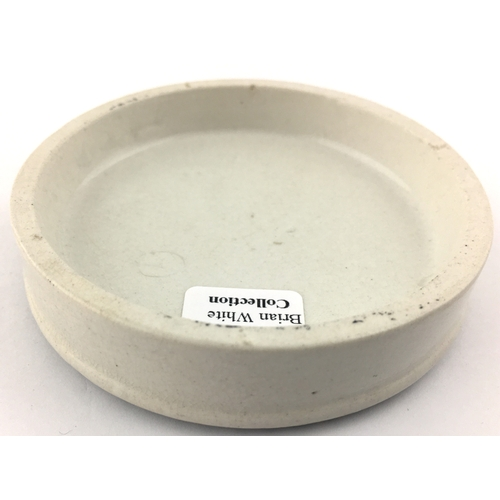 46 - PORTSMOUTH CHERRY TOOTH PASTE POT LID. (APL p 176, 53a) 3ins diam. Crisp black transfer CHERRY/ TOOT...