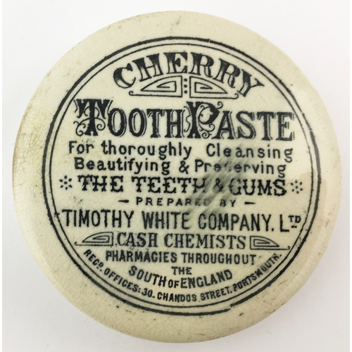 47 - PORTSMOUTH CHERRY TOOTH PASTE POT LID. (APL p 176, 52) 2.75ins diam. Strong black transfer (smudged)...