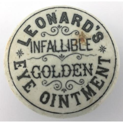 5 - LEONARDS GOLDEN EYE OINTMENT POT LID & BASE. 1.75ins diam. Black transfer LEONARD'S/ INFALLIBLE/ GOL...