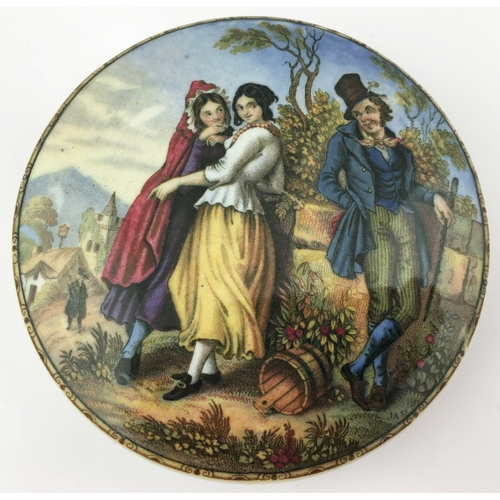 53 - THE IRISHMAN POT LID. (KM 126) 4ins diam. Multicoloured pot lid adapted from a painting by F. Goodal...