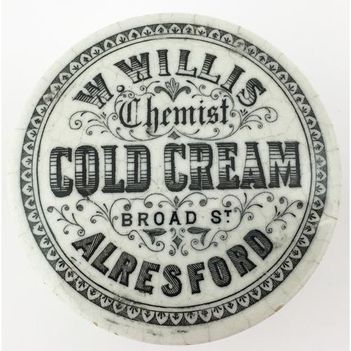 58 - ALRESFORD COLD CREAM POT LID & BASE. (APL p 183, 92a) 2.75ins diam. Black transfer W. WILLIS/ CHEMIS...