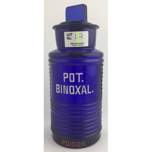 12 - CHEMIST SHOP ROUND. 8ins, cobalt blue glass, ribbed body POT./ BINOXAL. / POISON to front, large lip...